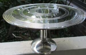 Rare Lg Christofle  Etched Design Silverplate  Tazza Centerpiece Cake  Stand