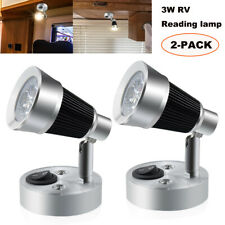 2 Pack Led Swivel Reading Light Car Rv Camper Trailer Wall Mount Bedside lamp Us