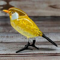 Glass Tit Bird Animal Figurine, Handmade Hand Blown Art Glass Figure 3.0""