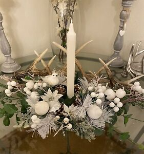 Artificial Christmas Table Centrepiece Table White Berries Cones Pears Bird