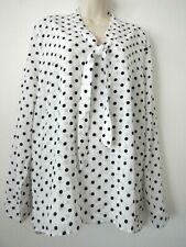 ACEVOG XXL Womens White/Black Polka Dot Bow Tie Neck LS Pullover Blouse NWT