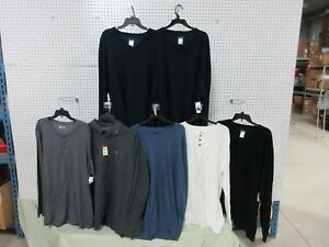 7 Men's 3XLT Big Tall Long Sleeve Pullover Collar Top Shirt Long Sleeve Clothing
