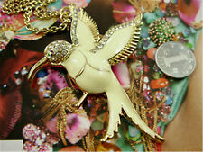 Art Deco style white enamel hummingbird bird necklace with sparkly crystal