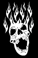 high detail airbrush stencil flaming skullhead six   FREE UK POSTAGE