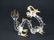 Hand Made Glass Dragon Figurine, Gold Accents & Red Eyes - New In Box