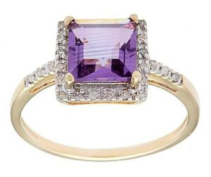 10k Yellow Gold 1.65ct Square Amethyst and Pave Diamond Ring