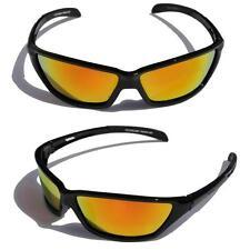 Black Polarized Sunglasses Fire Mirror lens Slim Fishing cycling baseball joggin