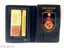 """PORTAFOGLIO con placca """"PROTEZIONE CIVILE"""", in pelle."""