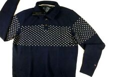 $110 New Mens TOMMY HILFIGER Lambswool Sweater XL Navy wool winter snowflake