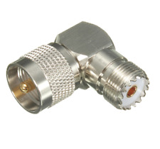 Right Angle Adapter Connector Converter UHF PL259 to Female SO239 RF Coax Cable