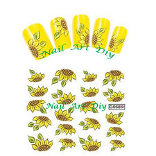20 nail stickers water transfer-SUN FLOWERS-tattoo adesivo-GIRASOLE-Manicure!!