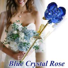 WR Crystal Blue Rose Flower 24 Karat Gold Plated Long Stem with Certificate Box