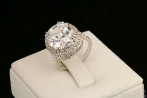 WOMENS DIAMOND STATEMENT ENGAGEMENT STYLE RING UK Q US 8 SWA CRYSTALS SILVER NEW