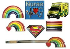 NEW Rainbow Heart Love Hope Pride Metal Enamel Badge & Hair Grip Clip Ambulance
