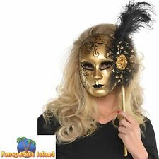 Gold Masquerade Venetian Ball Mask Womens Ladies Fancy Dress Costume Accessory