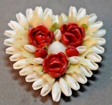 Vintage Unmarked Heart Figural Shell Red Flowers Brooch