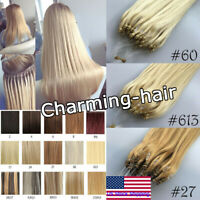 Micro Loop Ring Hair Extensions Micro Rings Link Remy Human Hair Straight 0.5g/s