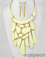 Cream gold wedding bridal chunky costume fashion jewelry earring necklace set