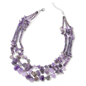 """Amethyst Purple Glass Strand Statement Necklace Jewelry Gift for Women 18"""""""