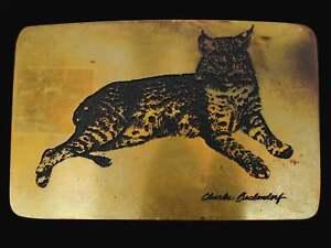 Bobcat Charles Beckendorf Solid Brass 1970s Vintage Belt Buckle