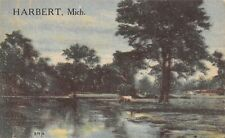Harbert Michigan~Cow Drinking Along Lakeshore~1916 Postcard