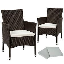 2x Chaise de jardin poly rotin résine tressé fauteuil muebles + coussins antique