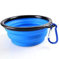 Bol Assiette Pliable pour Eau Nourritures Chien Chat / Camping Voyage / Bleu