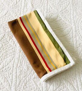 Pottery Barn Duncan Stripe Euro Pillow Sham ~ EUC Brown Green Red Yellow