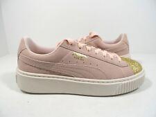 PUMA Suede Platform Glam Jr Kids Sneaker Pink/Gold/White Size 6