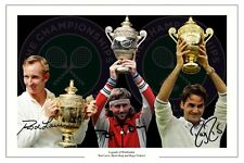 WIMBLEDON LEGENDS MONTAGE ROGER FEDERER LAVER BORG TENNIS SIGNED PHOTO PRINT