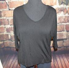 Black shirt V-neck 3/4 sleeve Dolman XL Rayon Asymmetrical Hem Charlotte Russe