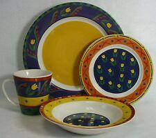 SIGNATURE china TUSCAN TULIP pattern 4-piece PLACE SETTING dinner mug salad soup