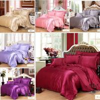 Comfort Mulberry Pure Colors  Silk Sheet Quilt 4 Piece Bed Sheet Set 220*240cm
