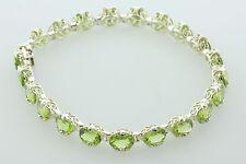 """Butterfly Filigree Scroll - 8.25"""" Green Peridot Sterling Silver Tennis Bracelet"""