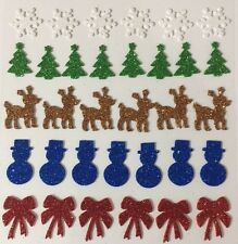 CHRISTMAS THEMED Foam Glitter Stickers(33pc)Reindeer•Snowflakes •Trees•Snowman••
