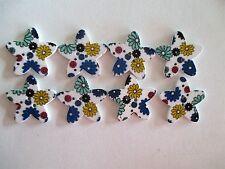8 x 25mm STAR Shape Wooden Buttons -Blue Flower Design - 2 Holes - No.982