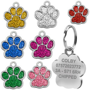 Engraved Dog Tag Personalised Name Charm ID Collar Puppy Animal Paw Glitter Neck