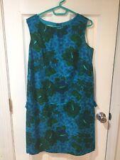 New listing Vtg Royal Hawaiian Sleeveless Sheath Dress Large Blue/Green Hibiscus & Islands