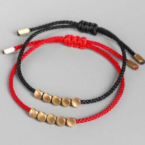 Handmade Tibetan Buddhist Lucky Red Rope Bracelet Rope Copper Beaded Unisex Gift