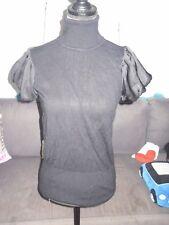 T-shirt col roulé noir femme MANGO taille 36 comme neuf !!
