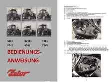 Bedienungsanweisung Zetor 5211 6211 7211 5245 6245 7245 IFA Fortschritt DDR