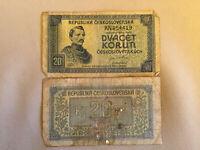 20 Korun Czechoslovakia Old Banknote 1945 Paper Money Old Rare Vintage