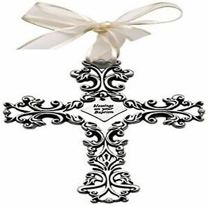 Baptism Gift - Baby Cross, 5-Inch High Filigree, Silver Tone with White Ribbon