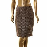 CALVIN KLEIN NEW Women's Sequined Tweed Metallic Straight Pencil Skirt 8 TEDO