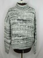 GAP Women's Cable Knit Wool-Alpaca Blend Pullover Sweater XL Cropped Gray Chunky