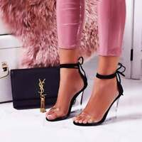Cape Robbin Magnetic Lace Up Perspex Clear Wedge Heel Black Suede Sandals