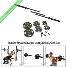 Golds Gym Olympic Weights 110 lbs Bar Cast Iron Plates Gold's Barbell Weight Set