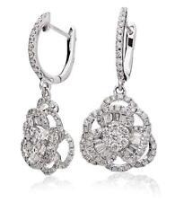 Diamond Flower Drop Earrings 1.20ct F VS Brilliant Cut in 18ct White Gold