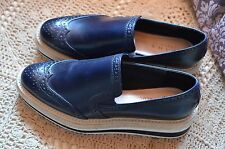 ZARA FLAT PLATFORM SHOES Brogues Espadrilles Loafers Oxford NAVY BLUE 37