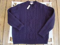 WALLACE & BARNES FOR J.CREW $118 NWT NAVY SHETLAND WOOL FISHERMAN SWEATER XLARGE